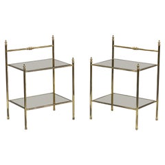 French Two-Tier Side Tables of Brass and Tinted Glass 'Priced Individually'