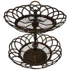 French Two-Tier Twisted Wire Footed Egg Stand Basket, Late 19th Century