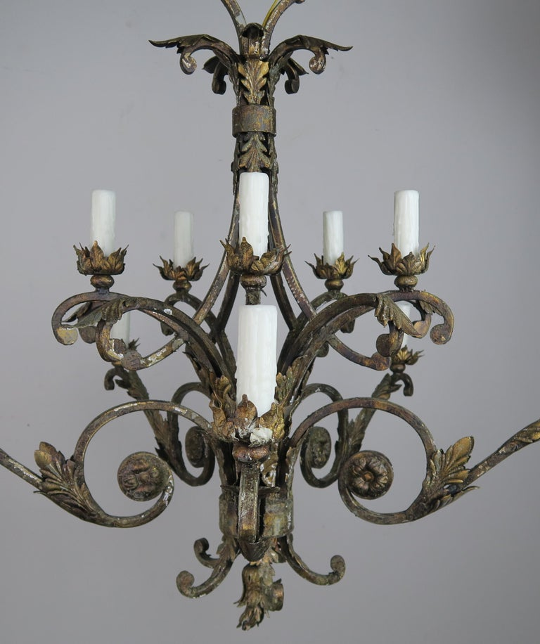 French Two-Tier Wrought Iron Light Chandelier at 1stdibs