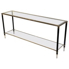 French Two-Tiered Console Table of Nickel, Brass, and Glass