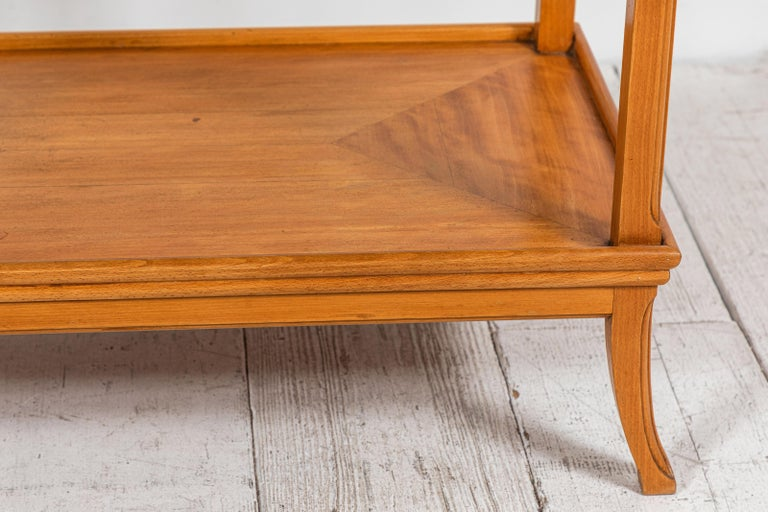 Early 20th Century French Two-Tiered Deco Blonde Wood Tray Table For Sale