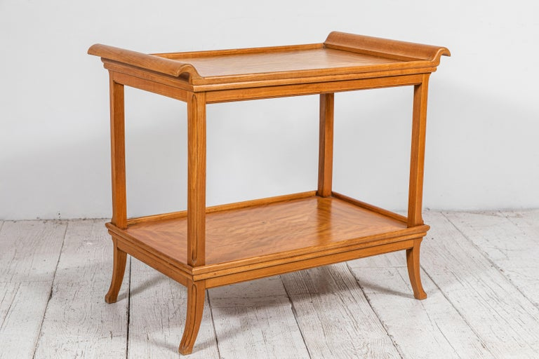 Satinwood French Two-Tiered Deco Blonde Wood Tray Table For Sale