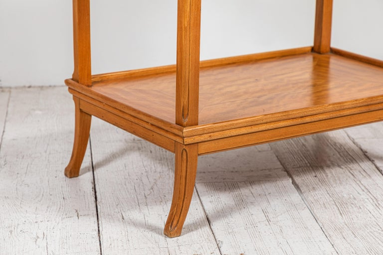 French Two-Tiered Deco Blonde Wood Tray Table For Sale 1