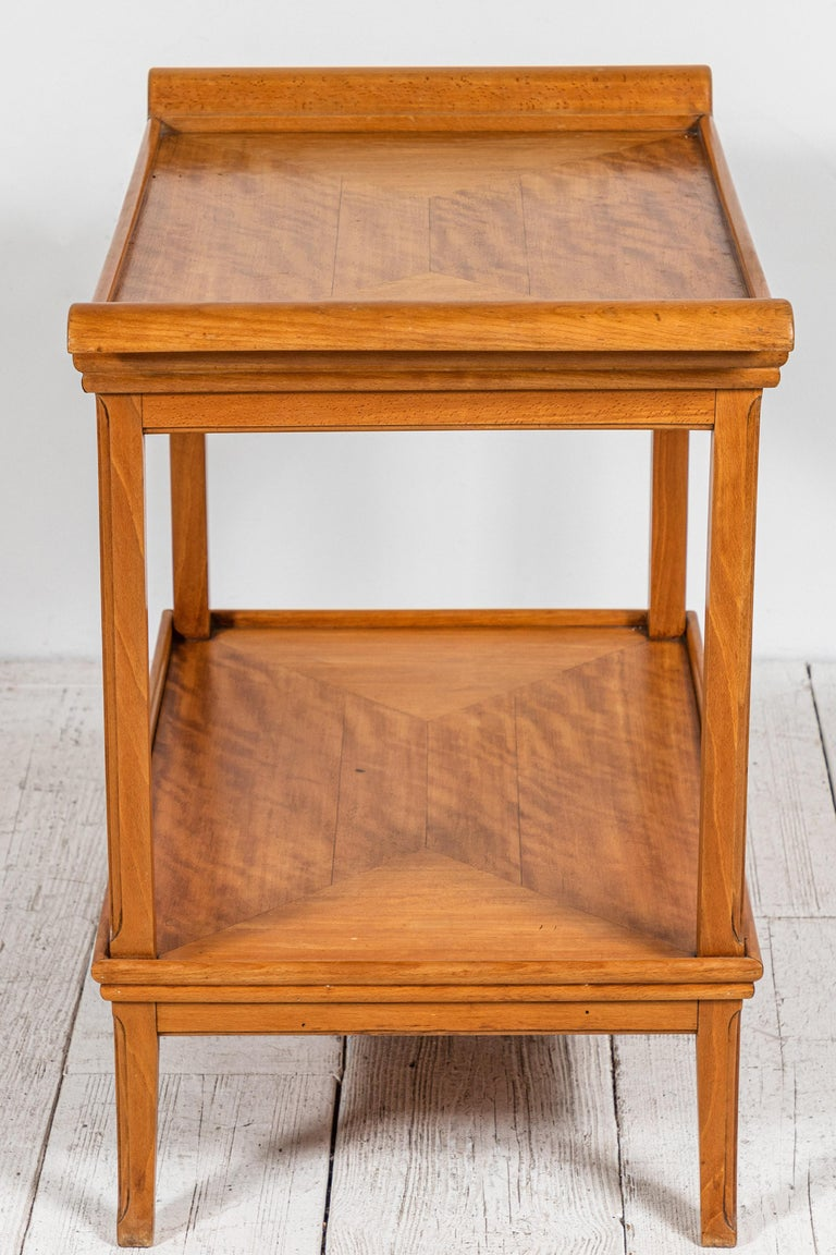 French Two-Tiered Deco Blonde Wood Tray Table For Sale 2