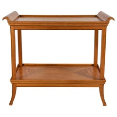 French Two-Tiered Deco Blonde Wood Tray Table