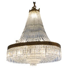 French Unusual Oval Crystal Chandelier, circa 1920