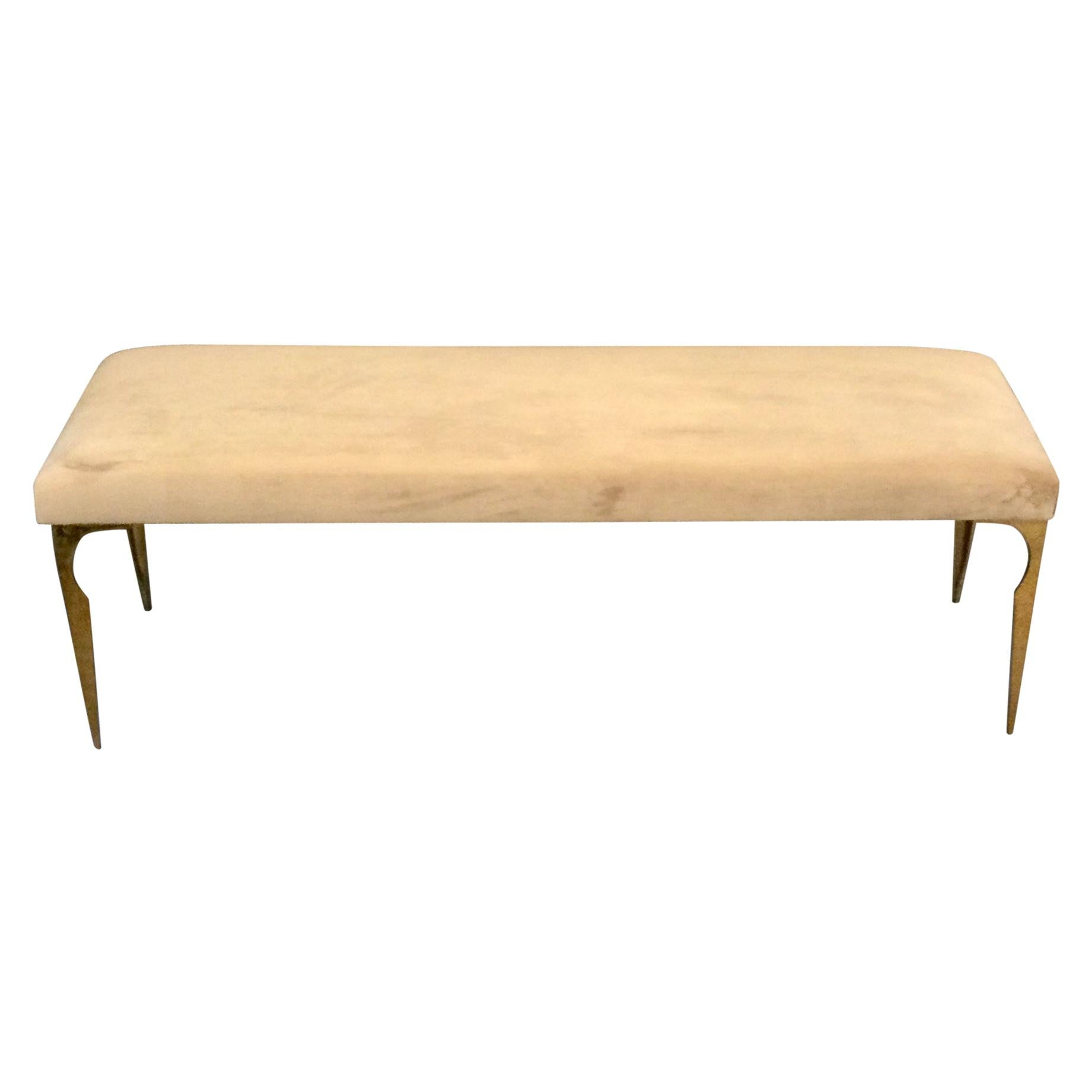 French Upholstered Bench on Bronze Legs Style of Maria Pergay, 1970