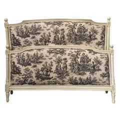 French Upholstered Double Bed Frame, Style Louis XVI, Toile de Jouy