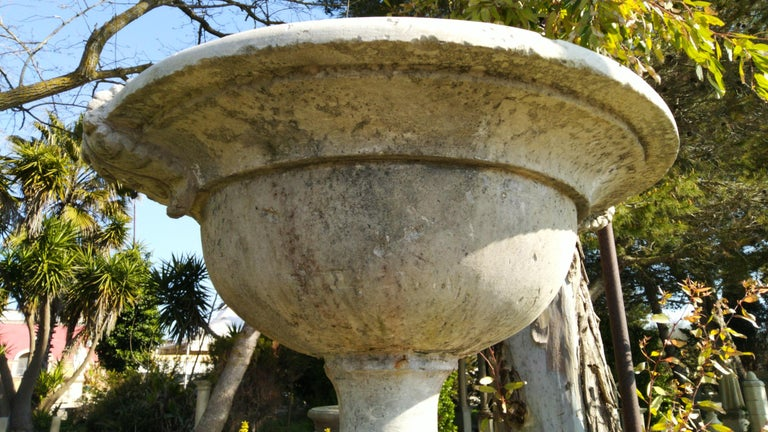 French Urns with Pedestals 'Pair' Hand-carved in Pure Limestone, antique finish. For Sale 5