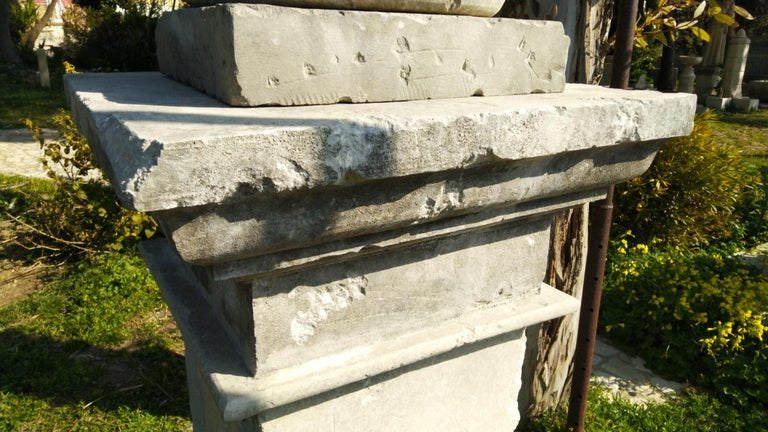 French Urns with Pedestals 'Pair' Hand-carved in Pure Limestone, antique finish. For Sale 6