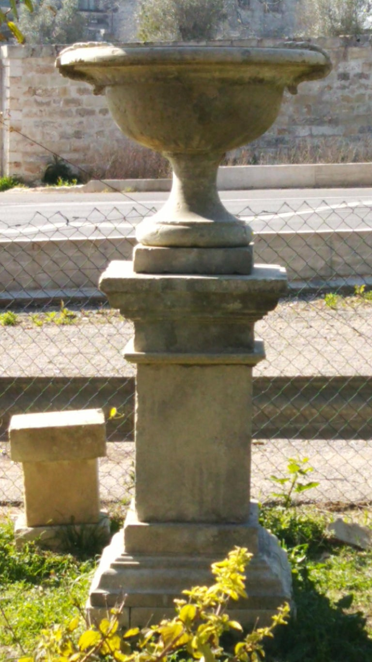 French Urns with Pedestals 'Pair' Hand-carved in Pure Limestone, antique finish. For Sale 2