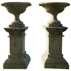 French Urns with Pedestals 'Pair' Handcrafted in Pure Limestone
