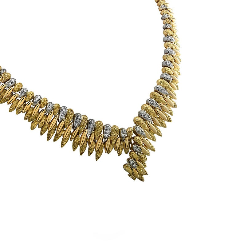 Modern French V-Shaped Diamond Necklace For Sale