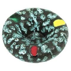 French Vallauris Ceramic Fat Lava Round Ashtray, 1950s