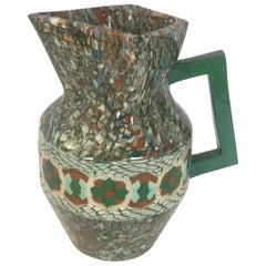 French Vallauris Clay Mosaic Pitcher by Master Ceramicist Jean Gerbino