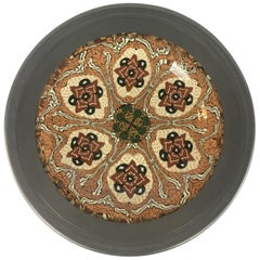 French Vallauris Clay Mosaic Plate by Master Ceramicist Jean Gerbino