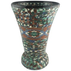 French Vallauris Clay Mosaic Vase by Master Ceramicist Jean Gerbino