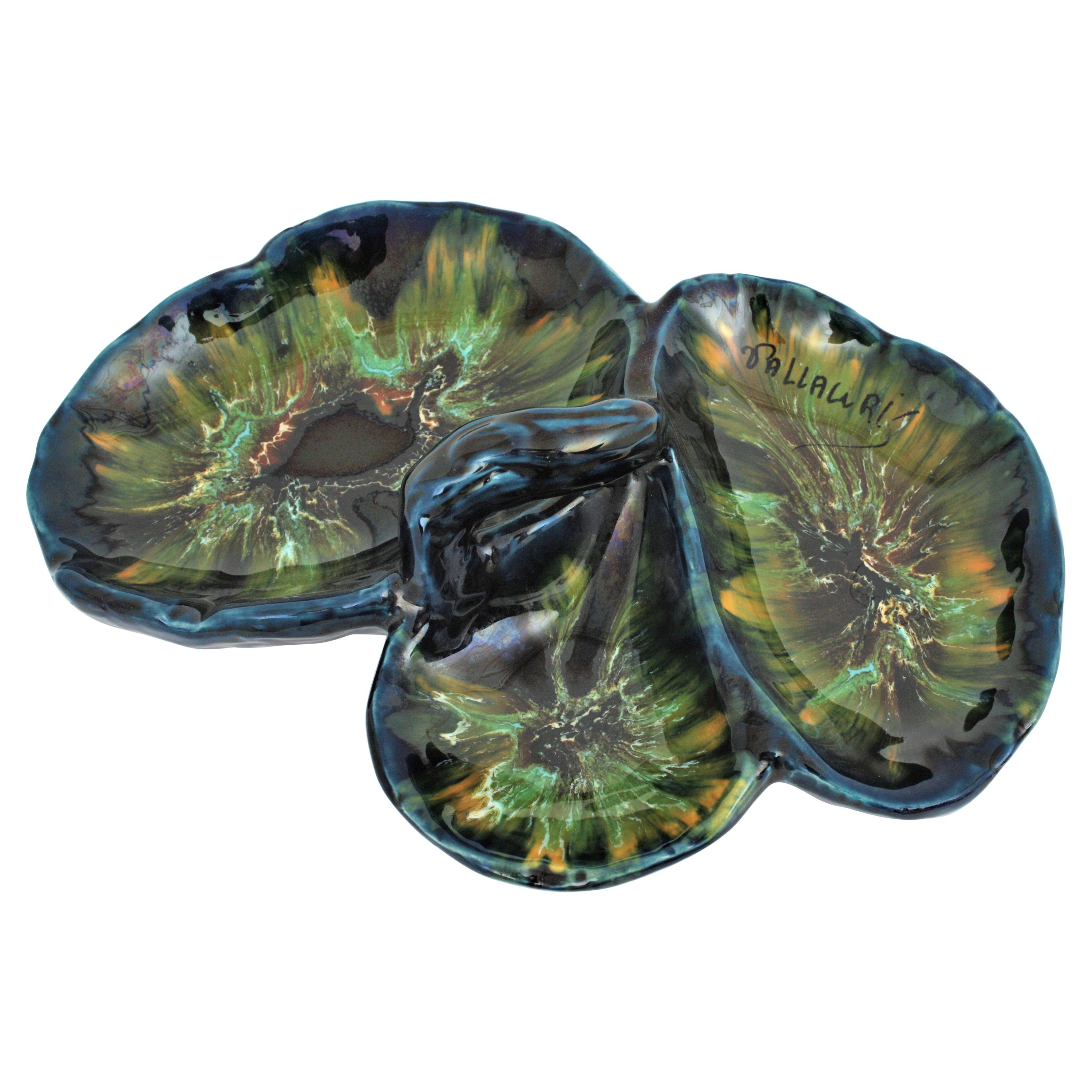 French Vallauris Majolica Ceramic Serving Tray or Centerpiece, 1960s