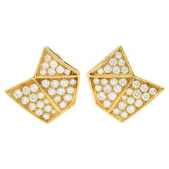 French Van Cleef & Arpels 3.50 Carats Diamond 18 Karat Gold Geometric Earrings