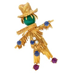 French Van Cleef & Arpels Ruby Sapphire Diamond 18 Karat Gold Scarecrow Brooch