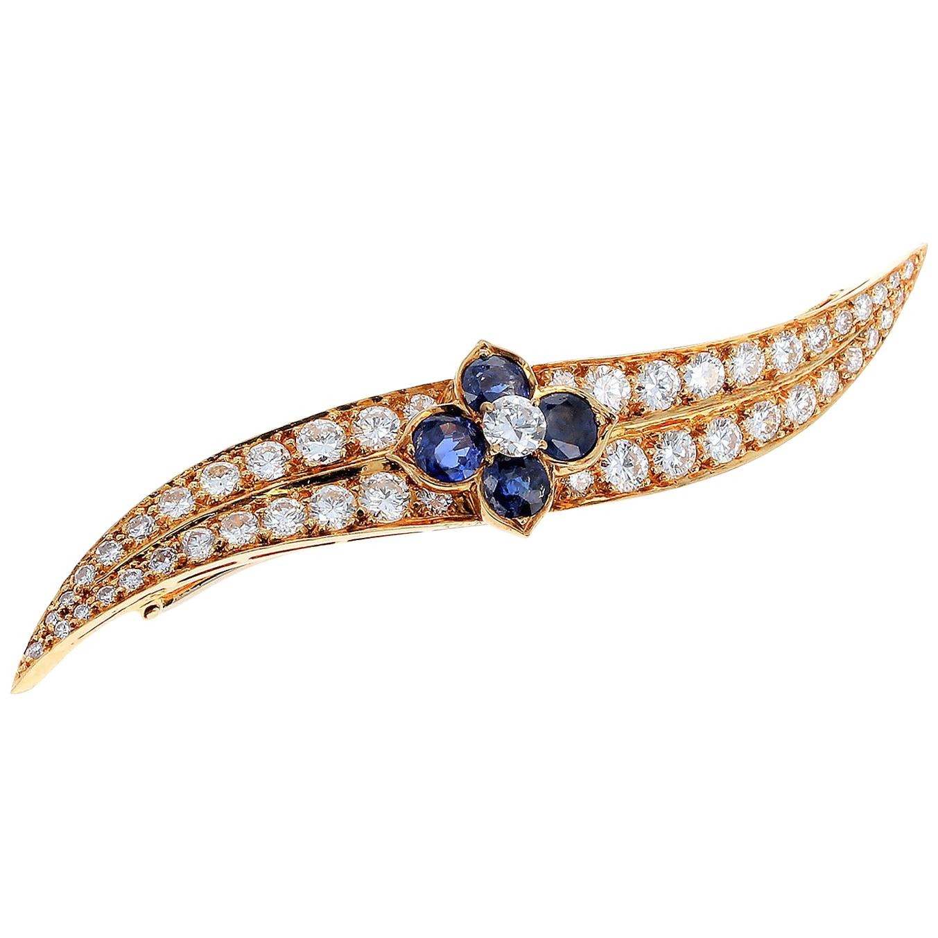 French Van Cleef & Arpels Sapphire Floral and Diamond Pin/Brooch, 18K Yellow