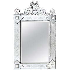 French Venetian Style Crested Mirror with Engraved Mirrored Frame, circa 1900