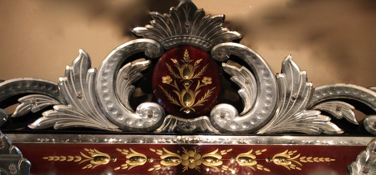 French Venetian Style Mirror with Red Ground Border, circa 1880 In Good Condition For Sale In London, GB