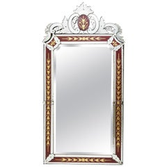 French Venetian Style Mirror with Red Ground Border, circa 1880