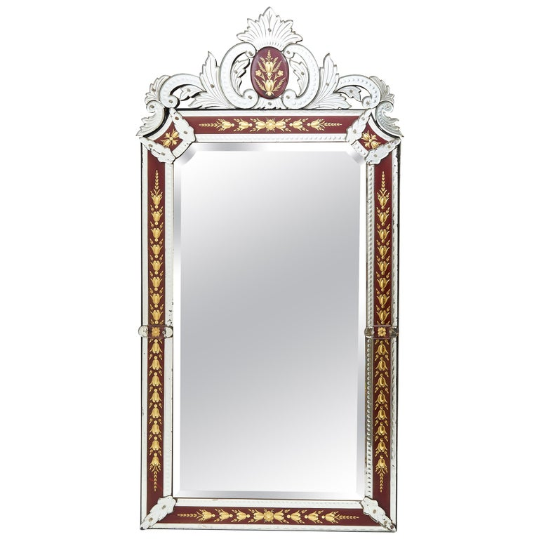 French Venetian Style Mirror with Red Ground Border, circa 1880 For Sale