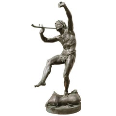 "French Verdigris Bronze of the ""Faune Dansant"" after Lequesne Early 20th Century"