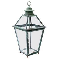 French Verdigris Copper and Brass Lantern