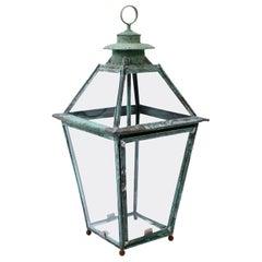 French Verdigris Copper and Brass Lantern