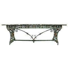 French Verdigris Wrought Iron and Gilt Iron Center Table