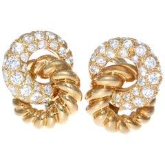 French Verdura 18 Karat Diamond Earrings