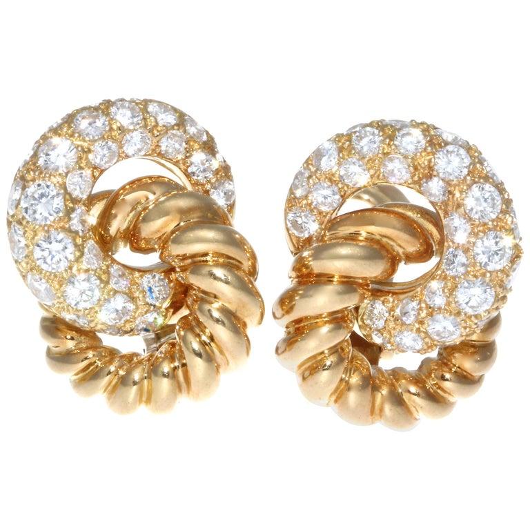 Verdura 18 Karat Diamond Earrings For Sale