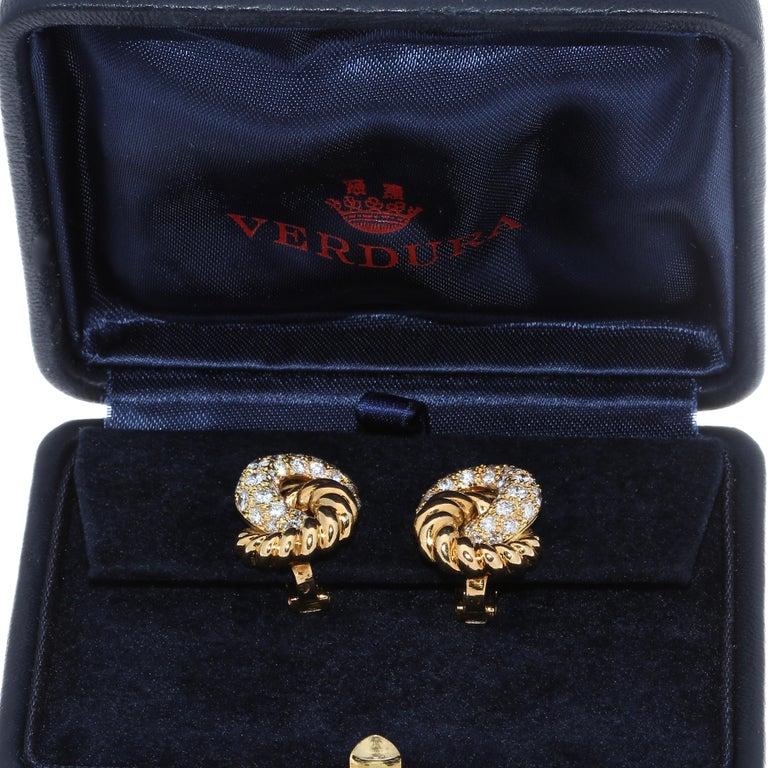 Contemporary Verdura 18 Karat Diamond Earrings For Sale