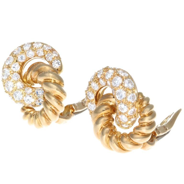 Round Cut Verdura 18 Karat Diamond Earrings For Sale