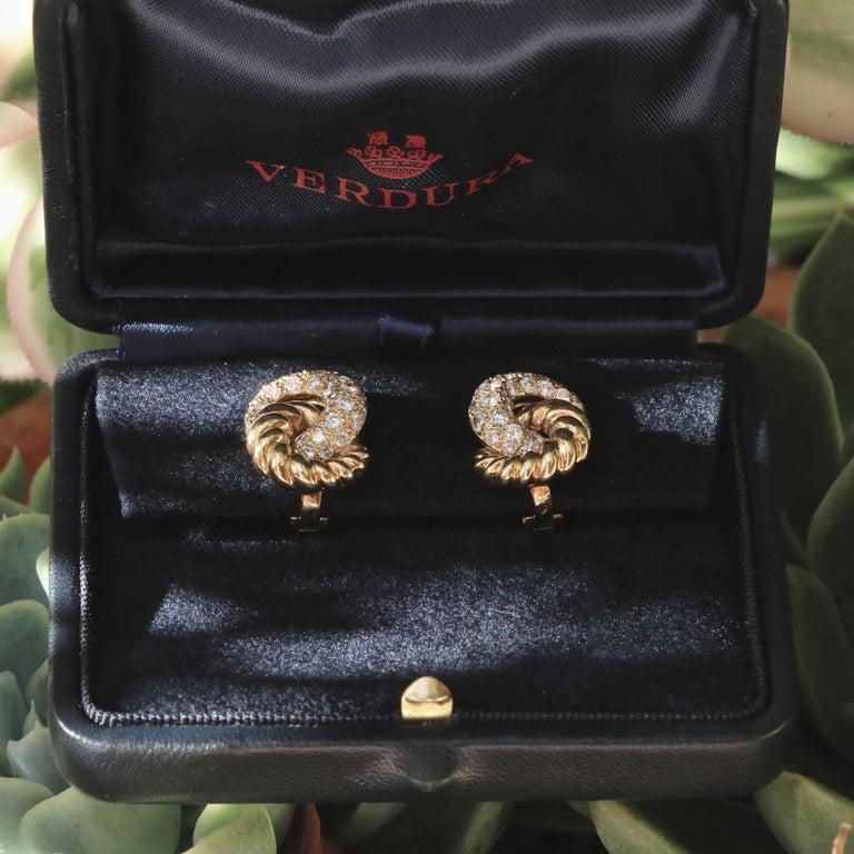 Verdura 18 Karat Diamond Earrings In Excellent Condition For Sale In Beverly Hills, CA