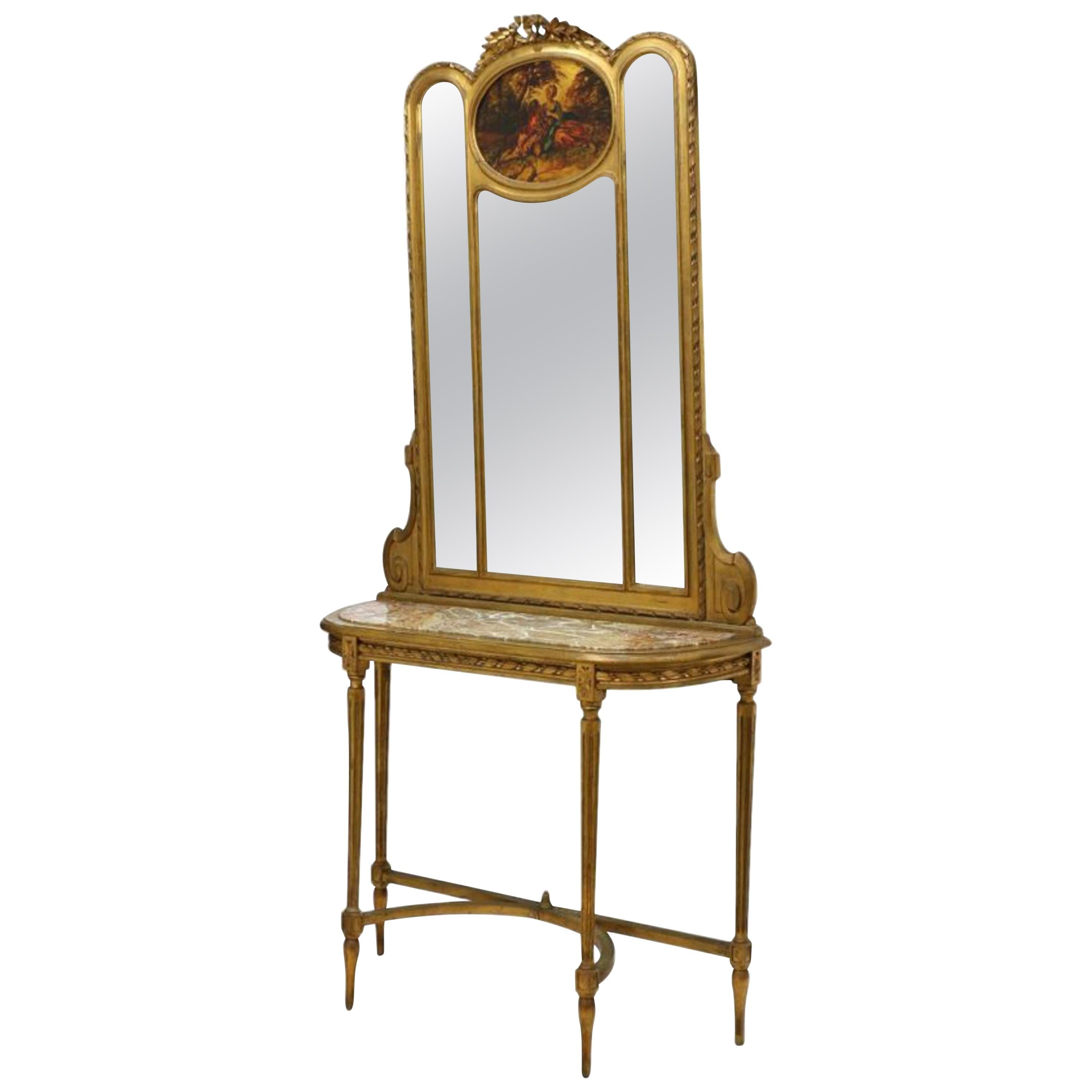 French Vernis Martin Style Giltwood Mirror and Console, 19th Century