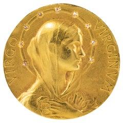French Vernon Art Nouveau 18 Karat Yellow Gold Virgin Diamonds Halo Brooch