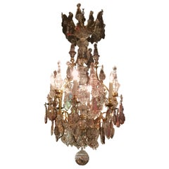 French Versailles Style Chandelier in Crystal and Bronze Doré with Six Lights