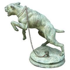French Vertigris Bronze Garden Sculpture of a Mastiff