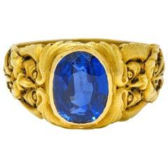 French Victorian 3.00 Carat No Heat Burma Sapphire 18 Karat Gold Anemoi God of W