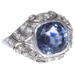 French Edwardian 5 Carat GIA Natural Sapphire Diamond Gold Ring