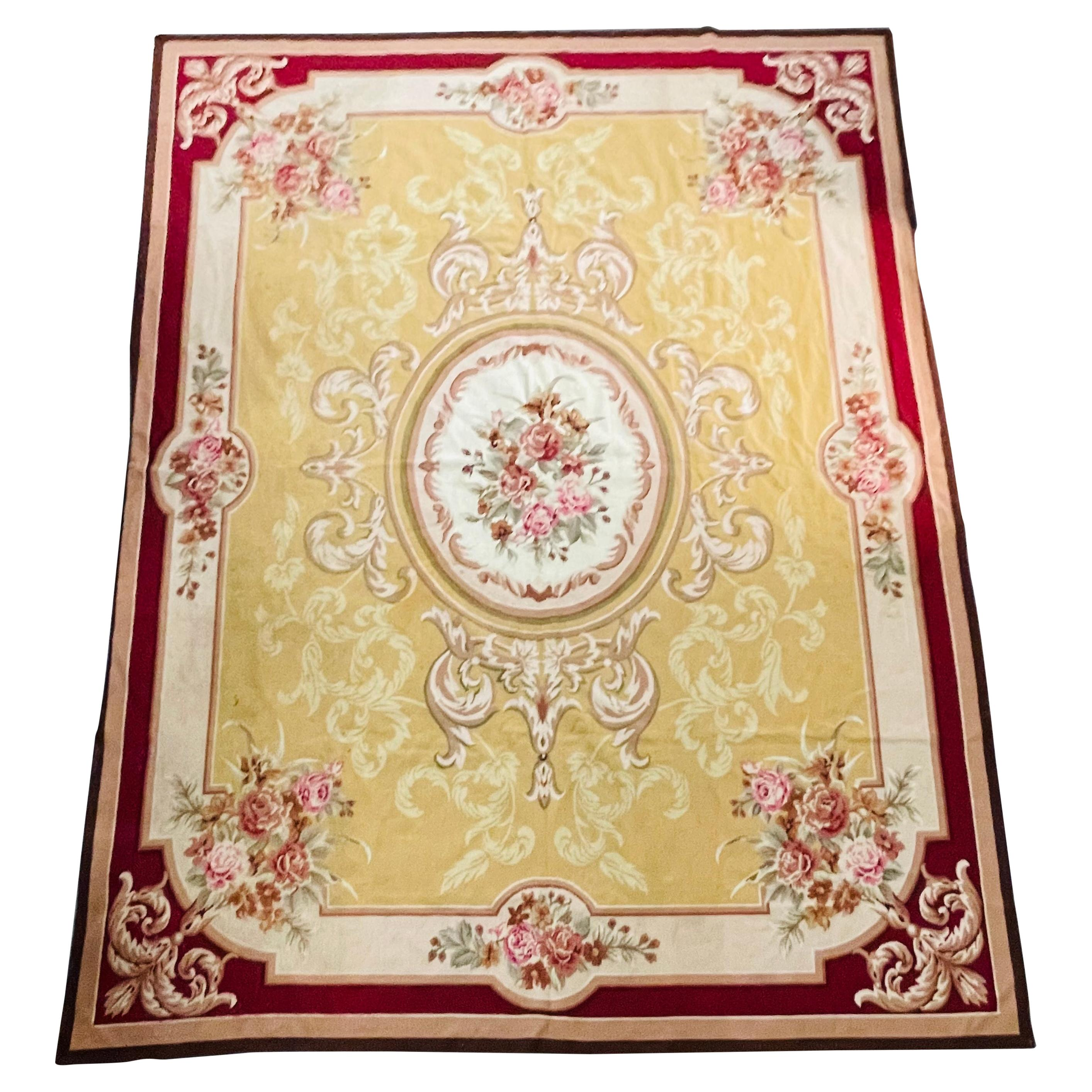 French Victorian Aubusson Style Large Needlepoint Tapestry, Carpet or Rug