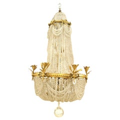 French Victorian Beaded Crystal Chandelier