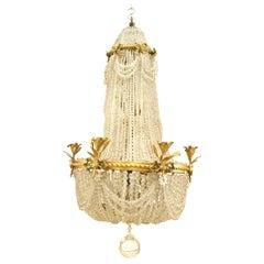 Französische viktorianische, Perlen und Kristall-Kronleuchter