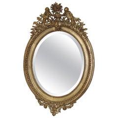 French Victorian Belle Époque Gilded Cherub Putti Oval Mirror, circa 1890