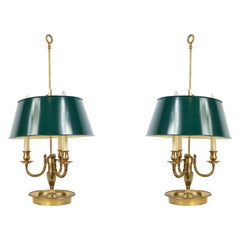 French Victorian Brass and Metal Table Lamps
