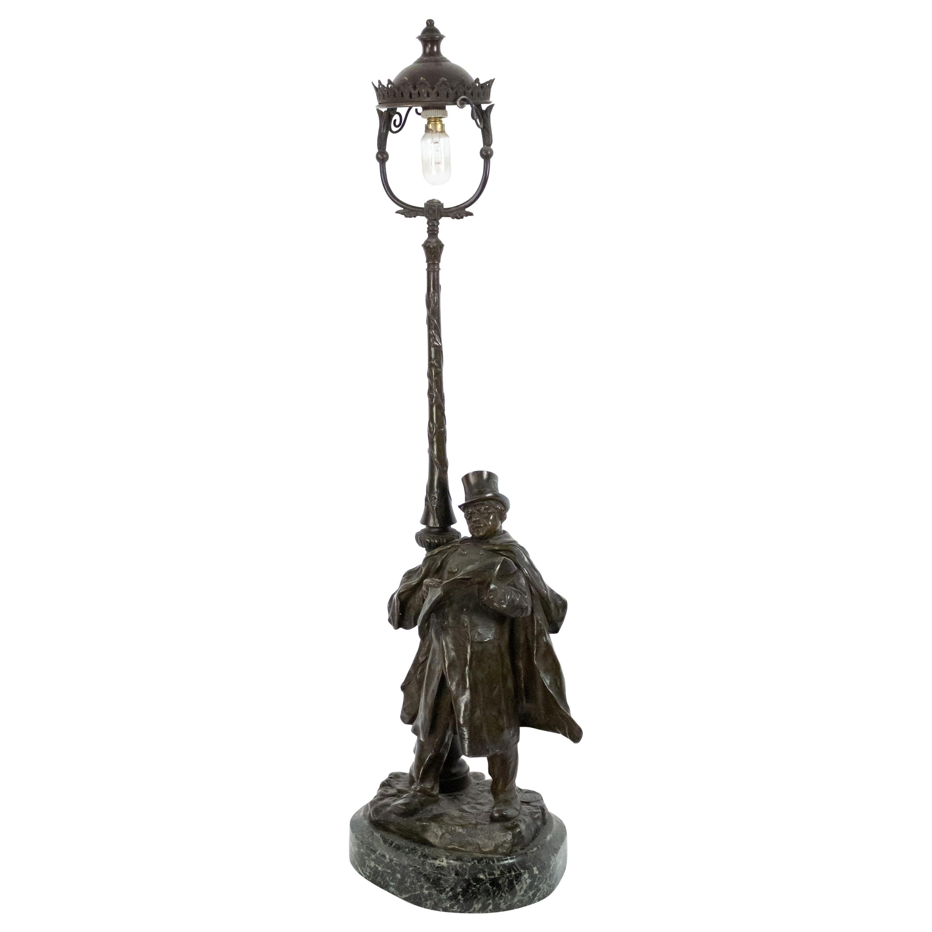 French Victorian Bronze Figural Table Lamp